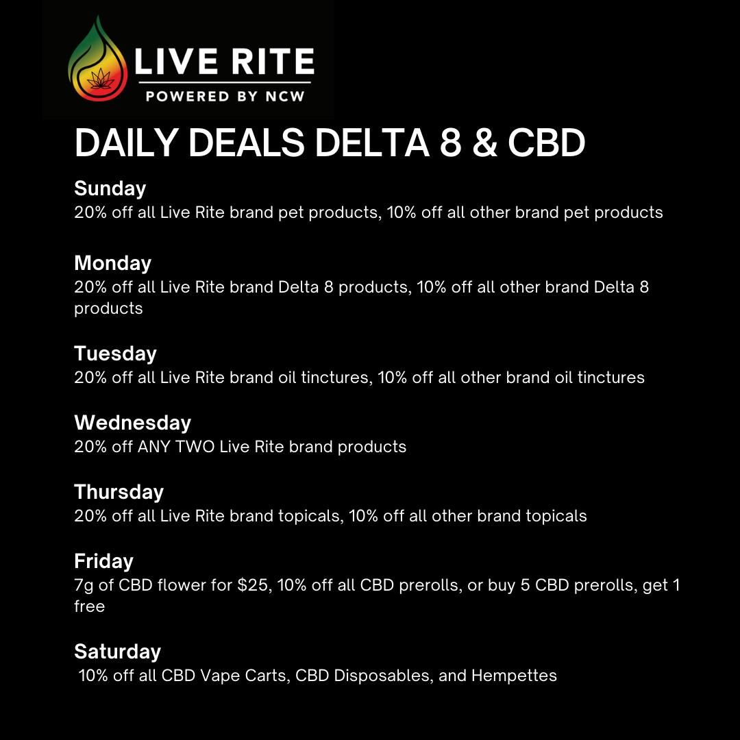 Live Rite New In-Store CBD / Delta 8 Deals